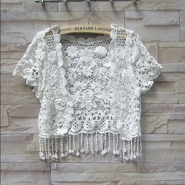 SISI C3076鉤花蕾絲流蘇罩衫