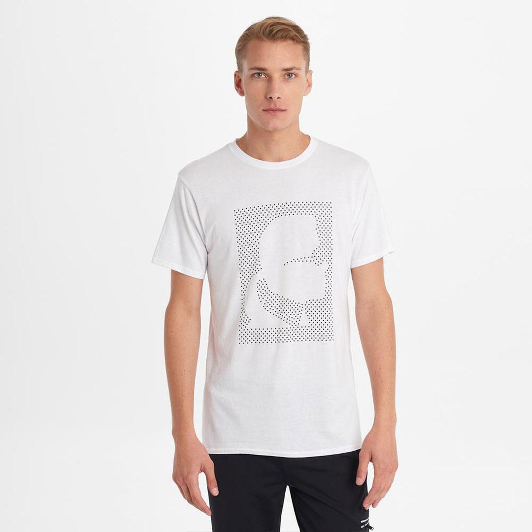 Karl Lagerfeld 卡爾 老佛爺 T-shirt 經典晶鑽剪影Tee-白