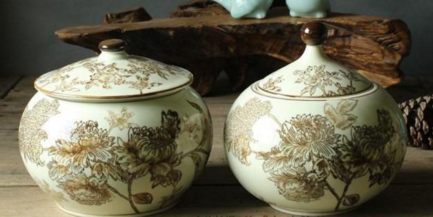 協貿國際景德鎮手繪陶瓷糖果罐有蓋圓罐