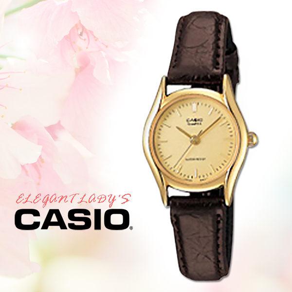 CASIO卡西歐手錶專賣店CASIO手錶LTP-1094Q-9A女錶指針錶皮革錶帶防水金面黑錶帶