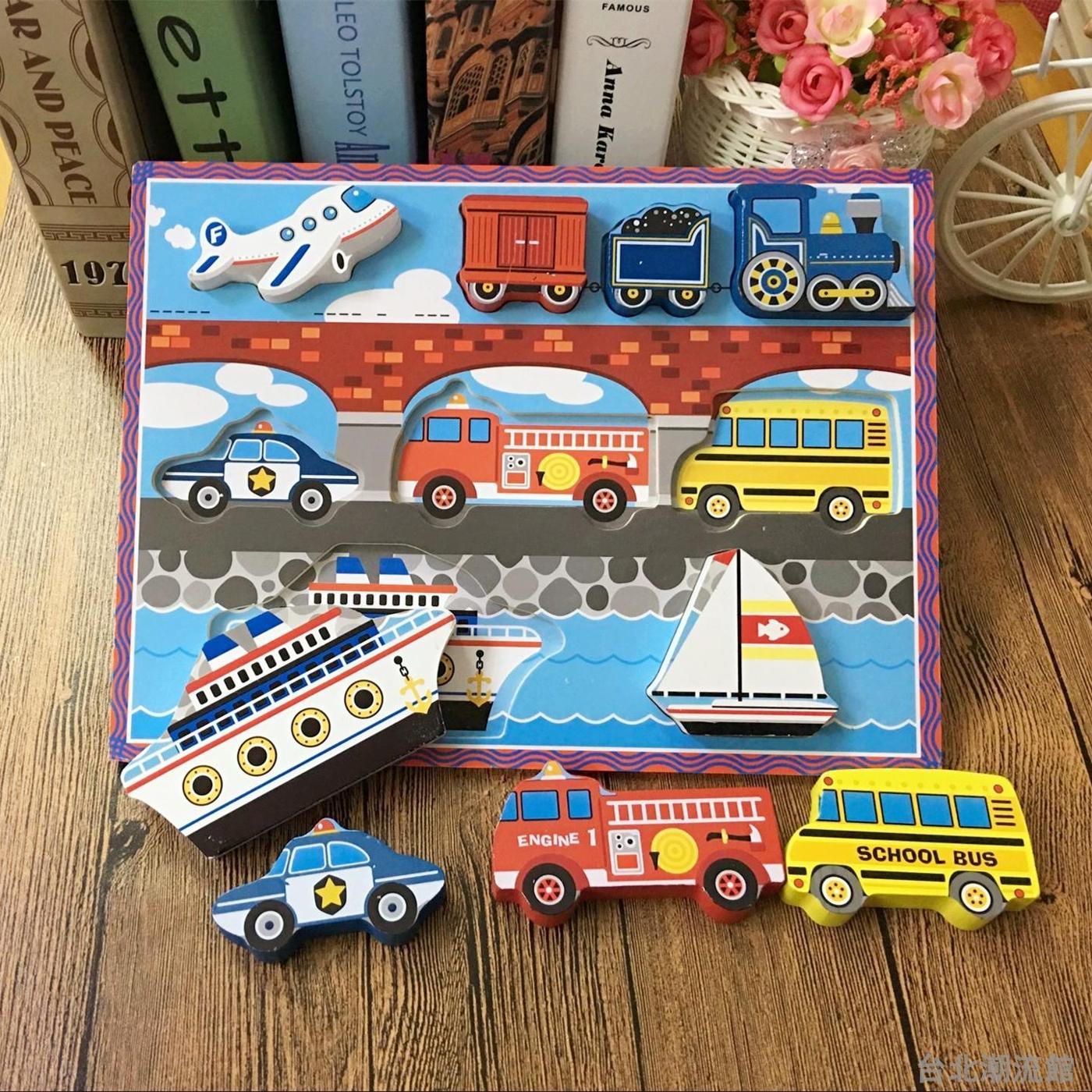 寶寶兒童益智木制玩具立體卡通拼圖動物交通汽車拼板手抓板1-3歲