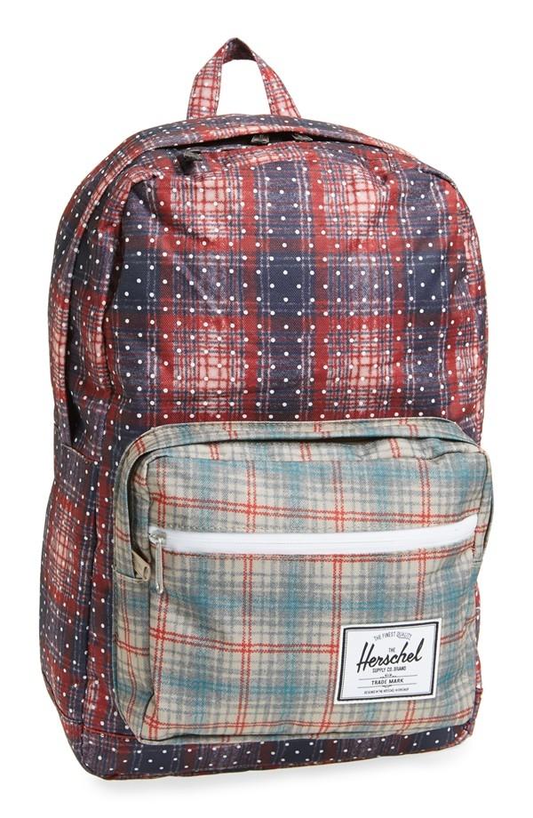 Hsin現貨Herschel Pop Quiz紅色紫色藍色點點格紋帆布防潑水筆電多夾層實用大容量後背包