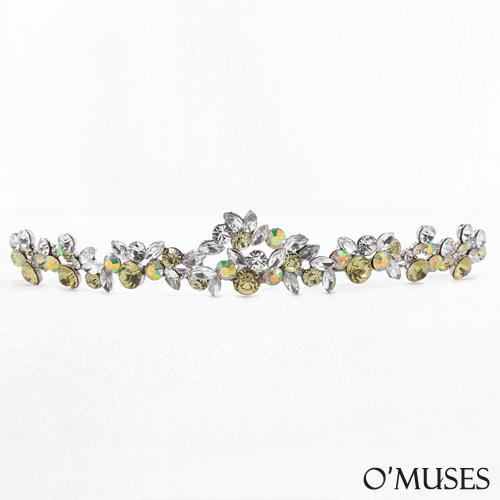 OMUSES全尺碼法式新娘秘書鑽石皇冠頭飾-黃色下標區