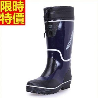 男雨靴-男雨具防滑厚底戶外釣魚休閒男長筒雨鞋2色67a16【時尚巴黎】