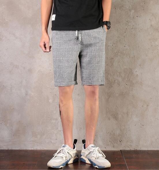找到自己品牌男潮簡單格子休閒短褲格子短褲
