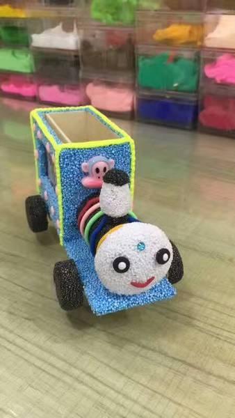 雪花珍珠泥木質白胚火車創意筆筒兒童手工制作diy材料包益智玩具木質白胚火車預購CH505