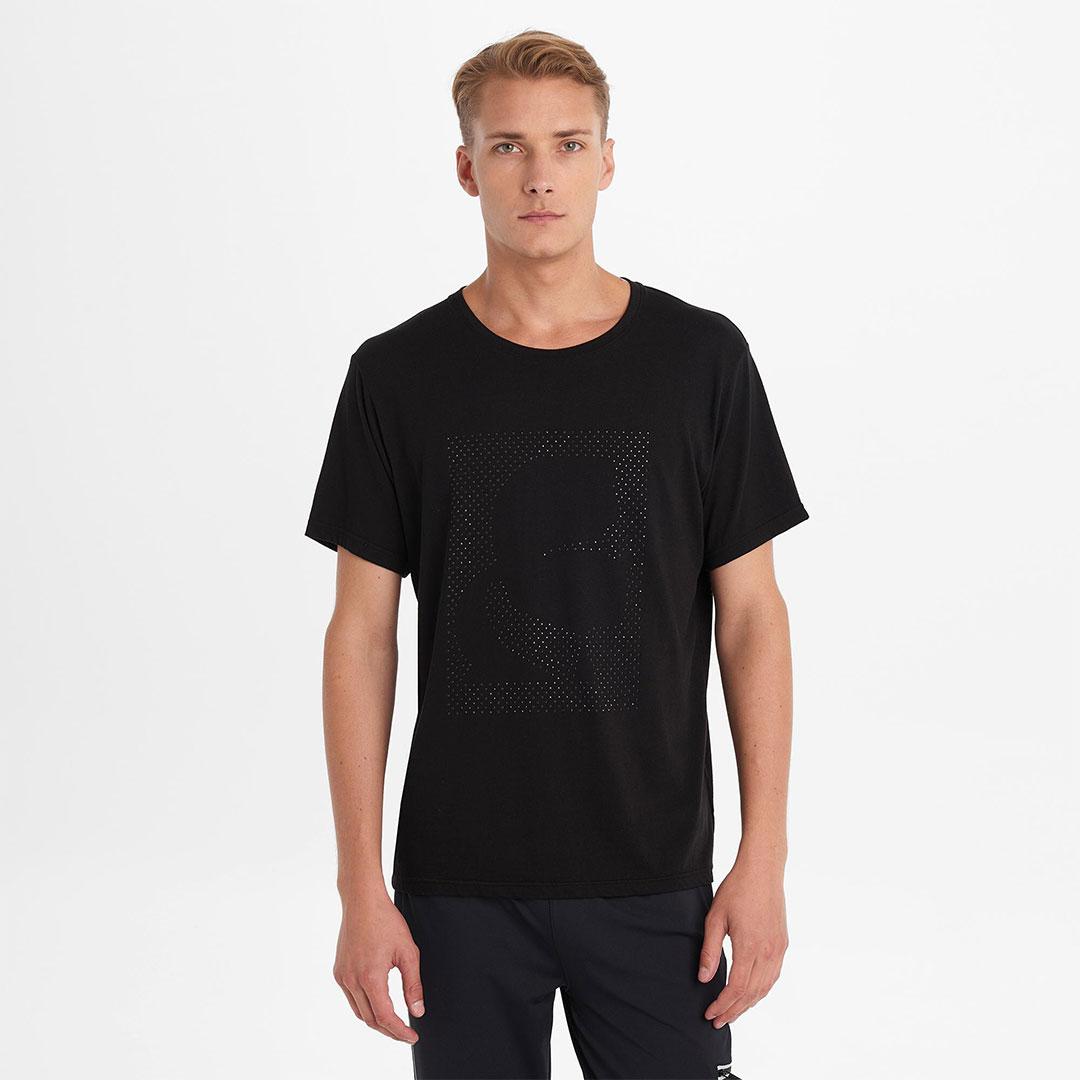 Karl Lagerfeld 卡爾 老佛爺 T-shirt 經典晶鑽剪影Tee-黑