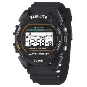 JAGA 捷卡 M175-A 薄型絢麗亮彩多功能電子錶 防水30M 路跑 游泳 推薦愛用款 (黑色)