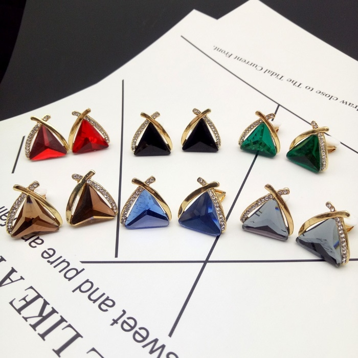 夾式耳環華麗三角形交叉滿鑽水晶夾式耳環