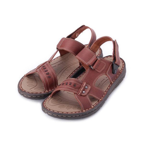 BONJO 真皮輕量兩用涼鞋 棕 男鞋 鞋全家福