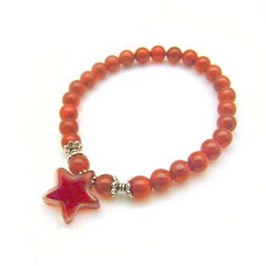 紅瑪瑙星星與圓珠純銀彈性手環