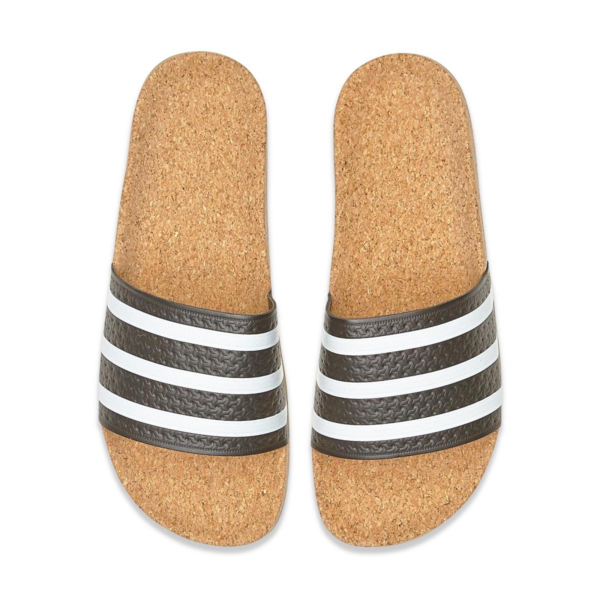 adidas ADILETTE CORK SLIDES W黑白軟木塞休閒經典復古款拖鞋女鞋GT Company BA7211