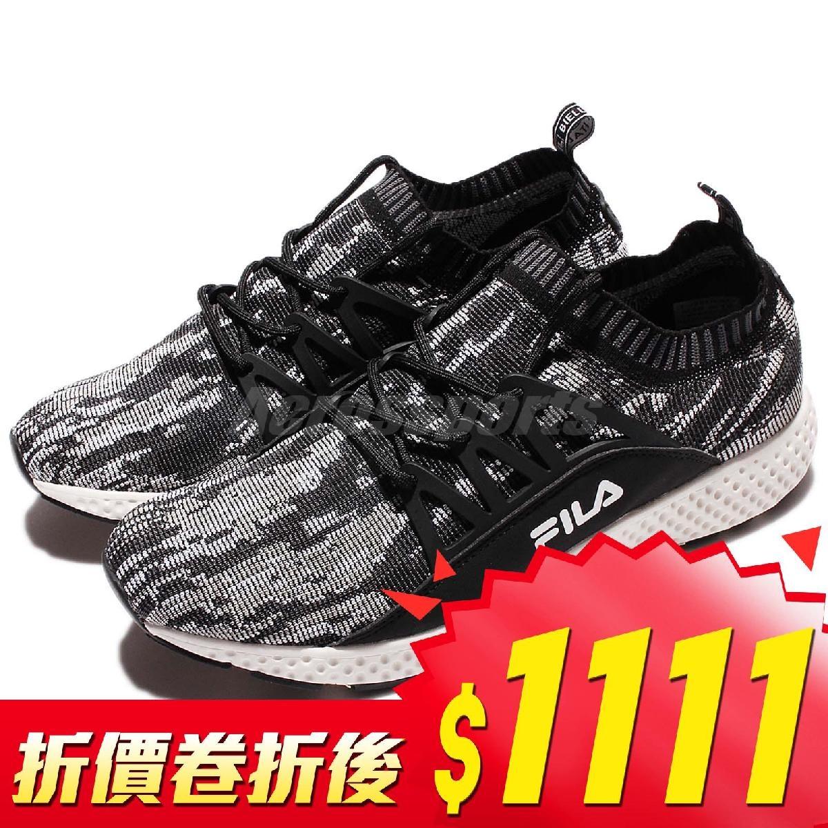 FILA 慢跑鞋 J307R 低筒 襪套式 黑 白 雪花 運動鞋 編織鞋面 男鞋【PUMP306】 1J307R401