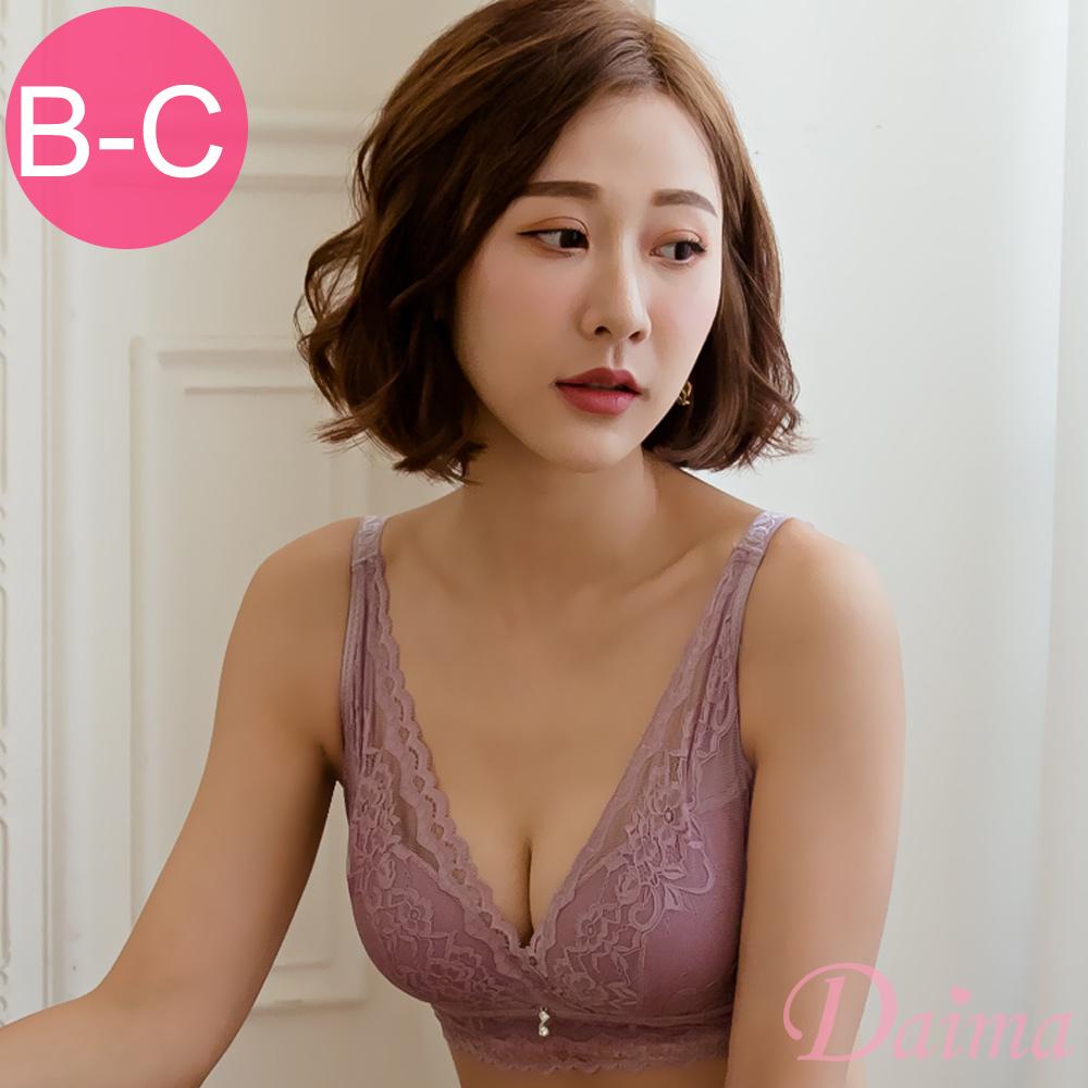 黛瑪Daima 包覆副乳無鋼圈美背蕾絲內衣_紫