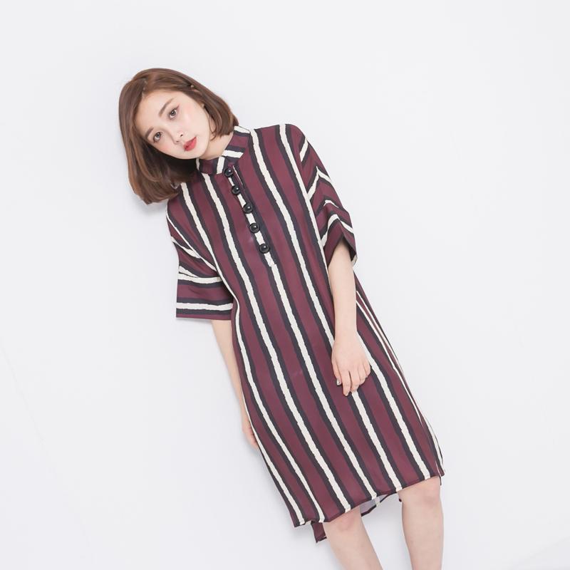 雪紡絲滑黑紅條翻領短袖寬鬆洋裝  (M7SS) 11750030