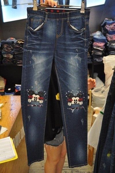 藍色破洞刷色可愛星星米妮彈性好顯瘦牛仔褲韓國空運褲頭伸縮最低價特價