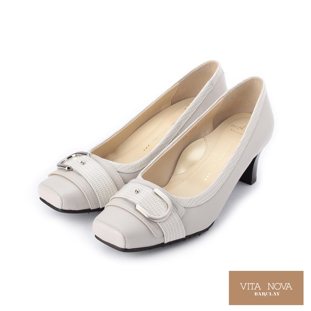 KAWANO 全真皮金屬皮帶飾釦跟鞋│日本製 灰 073234X 女鞋