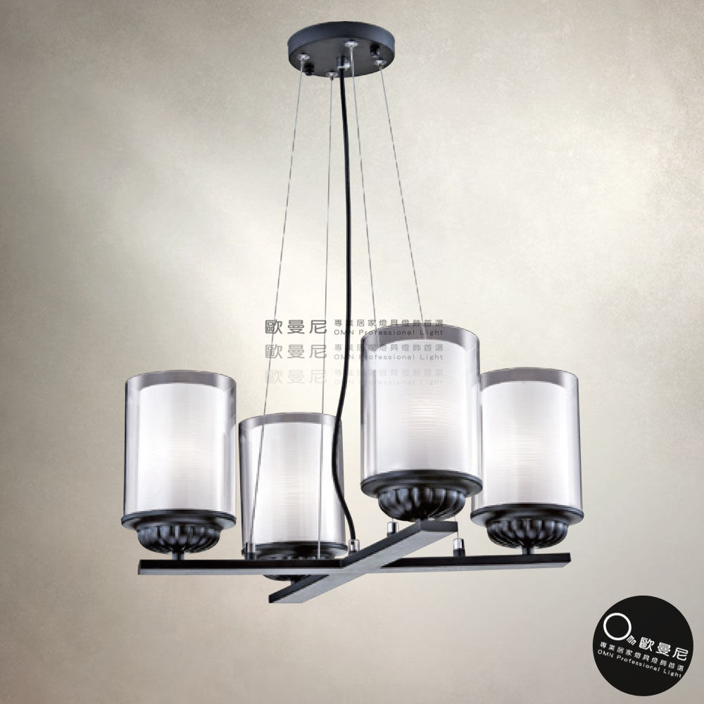 吊燈簡約時尚簡單大方玻璃透光吊燈4燈燈具燈飾專業首選歐曼尼