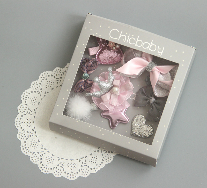10件組韓國風女童粉色皇冠精美髮夾公主髮夾寶寶邊夾髮飾灰粉色系~EMMA商城