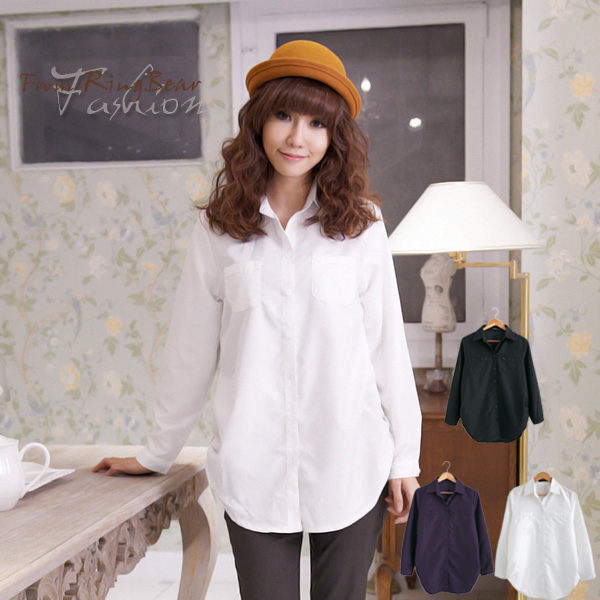 長版襯衫--女人的柔性美-側抓皺雙口袋造型長袖長版襯衫(黑.白.紫M-2L)-I99眼圈熊中大尺碼