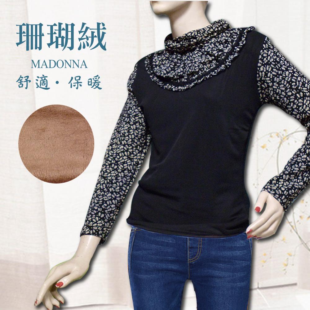 買一送一 泡泡領荷葉邊珊瑚絨毛上衣9043 (隨機選色) 發熱衣 保暖衛生衣 長袖 舒適好穿 冬天上衣