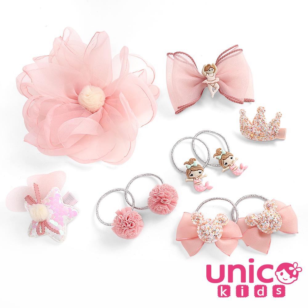 UNICO 兒童女寶寶甜美全包布蝴蝶結髮夾髮圈-10件組