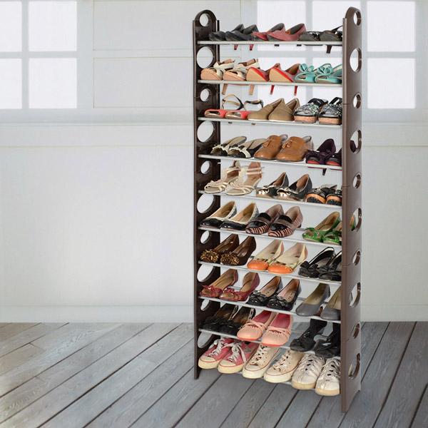 限時促銷↘【LIFECODE】可調式十層鞋架/可放30雙鞋 (咖啡色) LC364C
