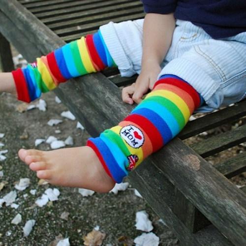 ☆傑媽童裝☆A002 日單我愛Mom彩色條紋襪套 【A002】