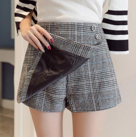 GZ26毛呢褲裙闊腿短褲顯瘦寬鬆不規則高腰A字裙褲2538
