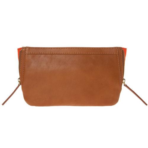 LILI RADU德國新銳時尚設計品牌手工小牛皮時尚兩側混色磁釦手拿包科涅克棕