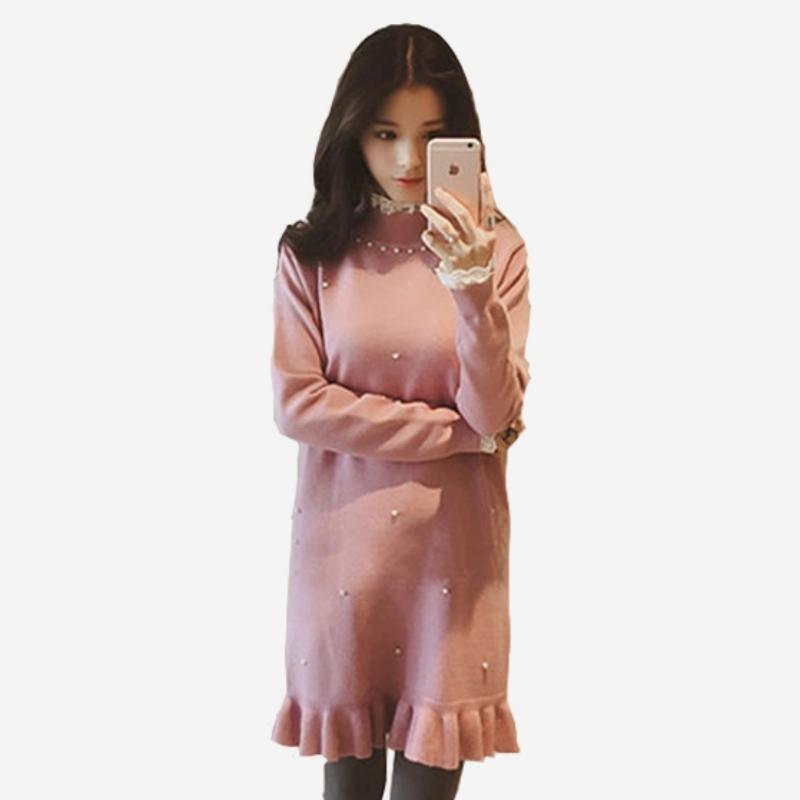 蕾絲領鑽綴拼接細羅紋長袖魚尾洋裝  (黑  粉紅)二色售 11652019