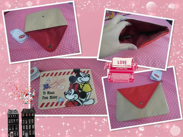妮好快樂正宗日本東京迪士尼商店帶回米奇米妮信封造型手拿包