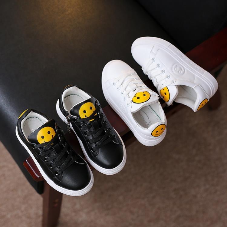春季新款兒童鞋女童小白鞋韓版笑臉休閒鞋運動板鞋男童學生鞋