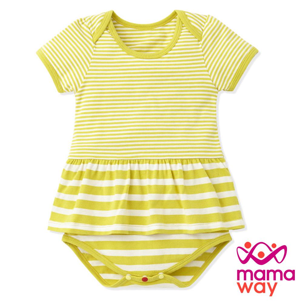 包屁衣短袖包屁衣寶寶服Baby粗細條剪接裙擺包屁衣共三色Mamaway