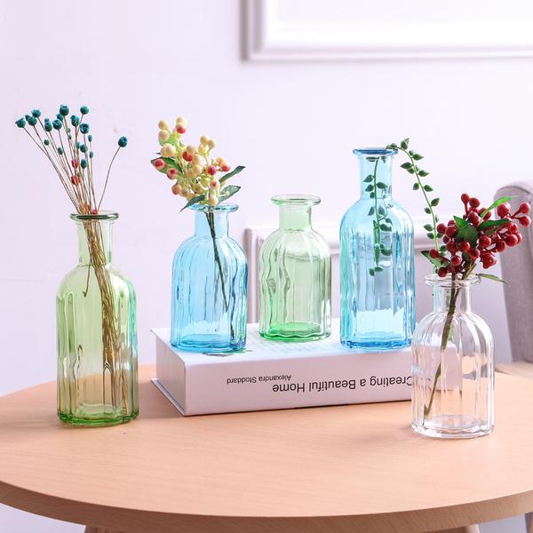 美式鄉村創意五彩玻璃多色幹花小花瓶花器插花水培植物裝飾品擺件預購CH2021