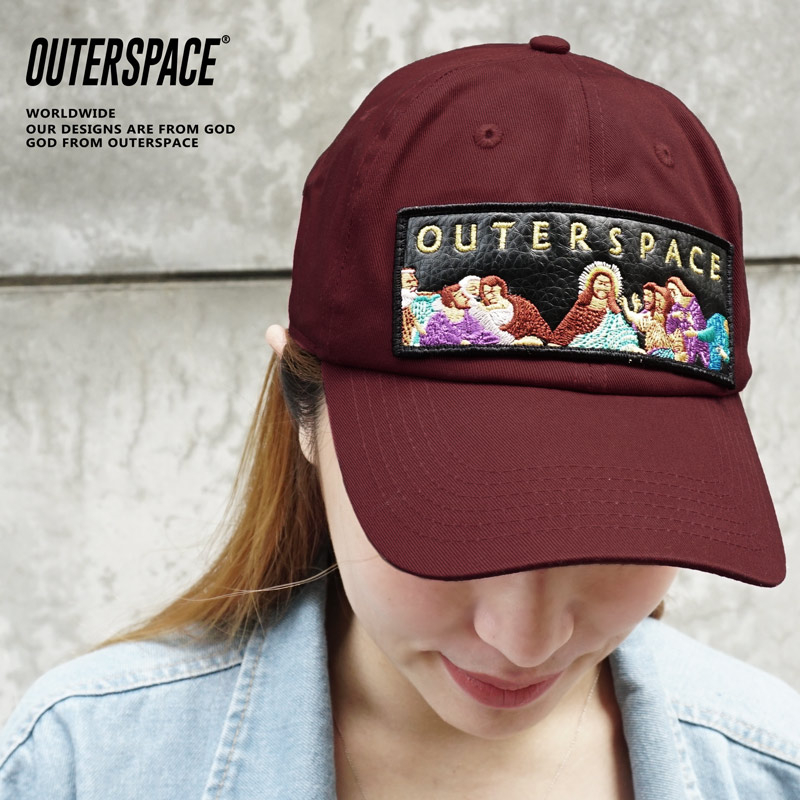 OUTER SPACE 最後晚餐刺繡老帽(酒紅)