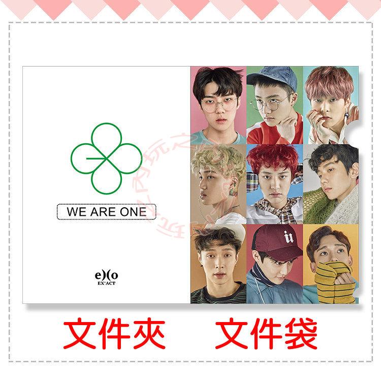EXO 三辑全員 文件夾 PVC文件袋 L夾 A4文件套E555-D【玩之內】韓國EX