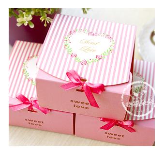 幸福朵朵粉色直條紋玫瑰Sweet Love DIY包裝盒禮物盒烘焙包裝材料資材.餅乾盒.糖果盒