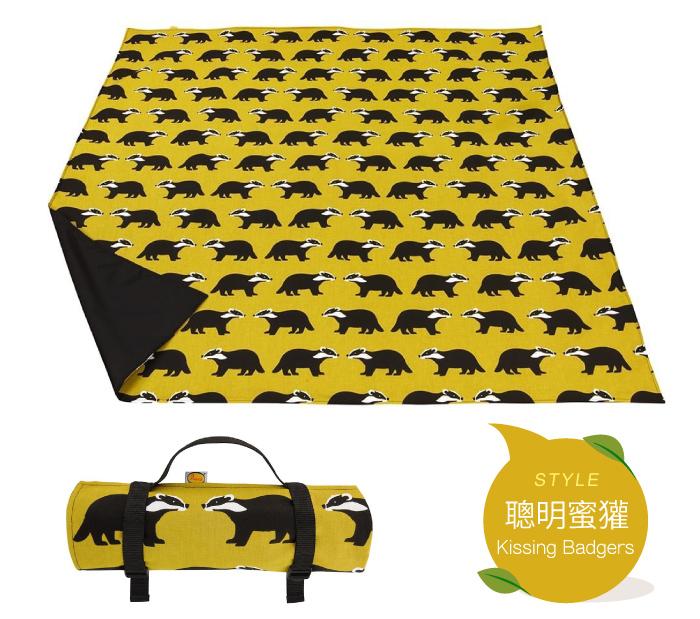 野餐墊 地墊 英國Anorak印花防水野餐墊 聰明蜜獾 英國設計製造,精緻車縫 里和 Riho