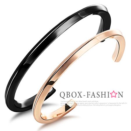 QBOX FASHION飾品W2015N766精緻個性情侶素面開口316L鈦鋼對鍊手環男女單款
