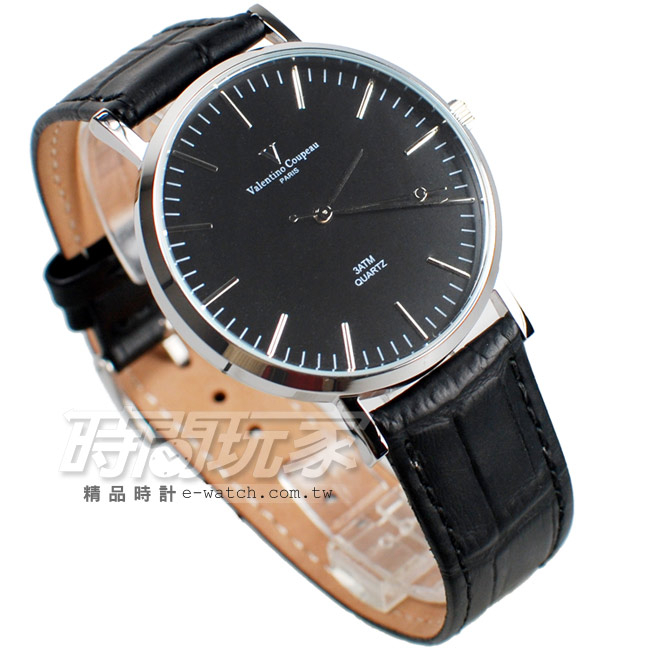 valentino coupeau 范倫鐵諾 簡約城市風格 皮革錶帶 男錶/中性錶/女錶/都適合 黑色 V61576黑