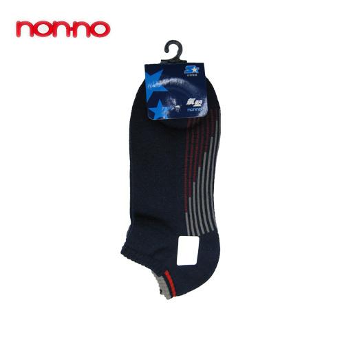 NON-NO直條底氣墊船型襪-丈青(22~24cm)【愛買】