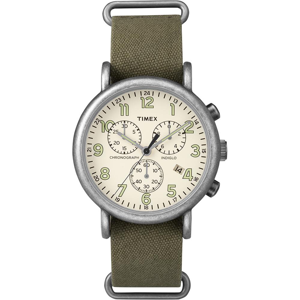 【TIMEX】天美時 Weekender Chrono週末三眼系列計時手錶(米/綠 TXT2P85500)