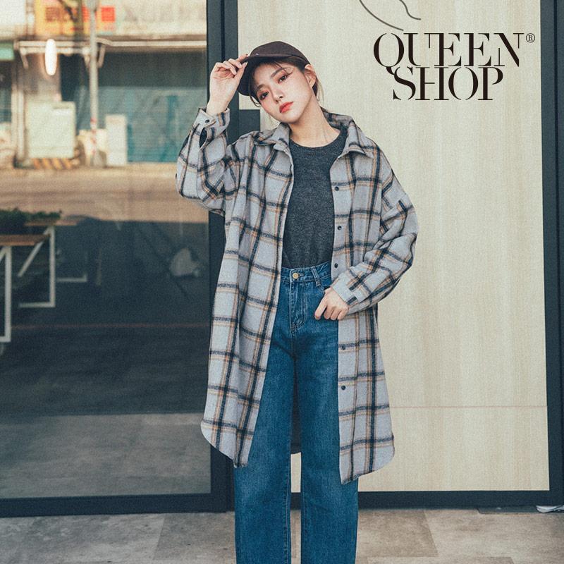 Queen Shop【02071183】配色格紋磨毛長版襯衫外套*現+預*