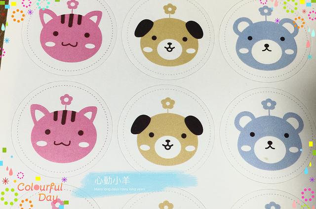 心動小羊韓國熊貓狗造型3種12枚手工皂貼紙布丁貼紙烘焙袋定制封口貼熱賣款12入