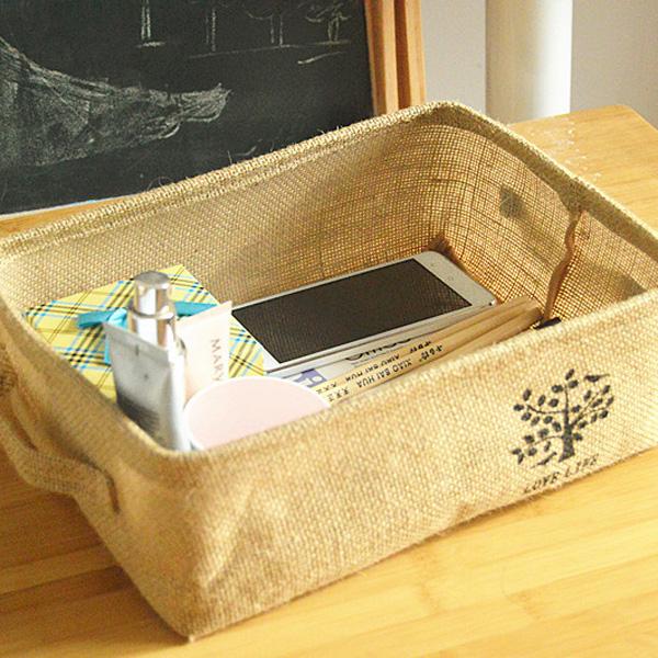 居家收納任選69折BlueCat小樹盆栽褐黄棉麻淺口手提長方型收納盒