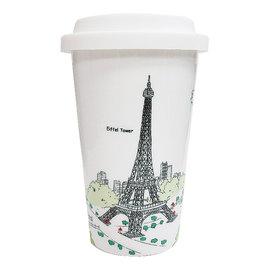 Bella House雙層隔熱陶瓷杯330ml巴黎鐵塔1入馬克杯隔熱杯骨瓷杯隨手杯雙層杯咖啡杯