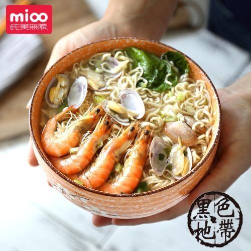 純美無限6 .5寸家用日式面碗 復古陶瓷牛肉吃面大碗湯 粉碗燴泡面【黑色地帶】