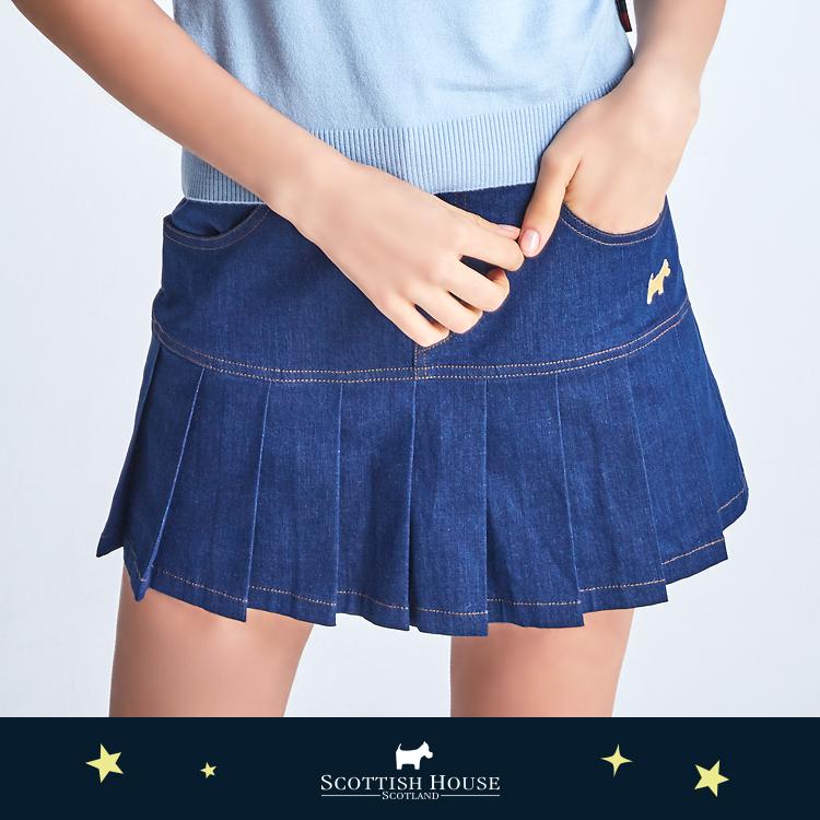 百褶牛仔短褲裙 Scottish House【AJ2308】