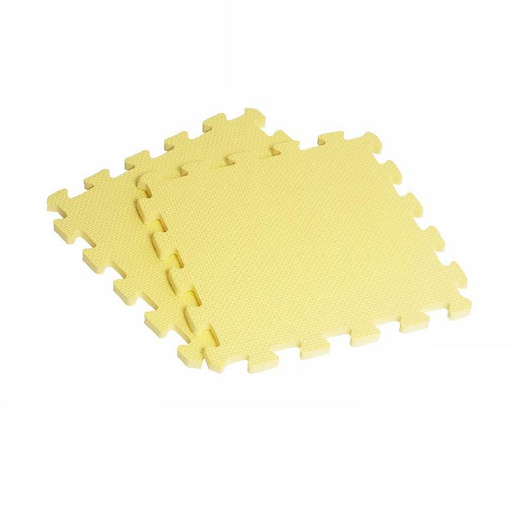 【新生活家】EVA素面巧拼地墊-黃色32x32x1cm8入
